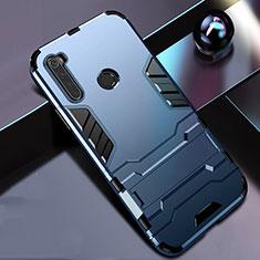 Custodia Silicone e Plastica Opaca Cover con Supporto R01 per Xiaomi Redmi Note 8T Blu