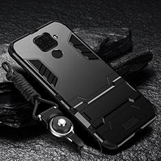Custodia Silicone e Plastica Opaca Cover con Supporto R01 per Xiaomi Redmi Note 9 Nero