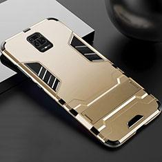 Custodia Silicone e Plastica Opaca Cover con Supporto R01 per Xiaomi Redmi Note 9 Pro Oro