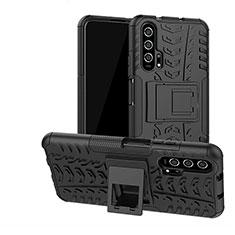 Custodia Silicone e Plastica Opaca Cover con Supporto R02 per Huawei Honor 20 Pro Nero
