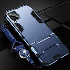 Custodia Silicone e Plastica Opaca Cover con Supporto R02 per Huawei P40 Lite Blu