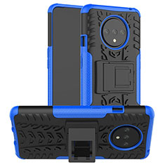 Custodia Silicone e Plastica Opaca Cover con Supporto R02 per OnePlus 7T Blu