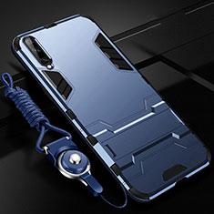 Custodia Silicone e Plastica Opaca Cover con Supporto R02 per Samsung Galaxy A70 Blu