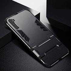 Custodia Silicone e Plastica Opaca Cover con Supporto R02 per Samsung Galaxy Note 10 5G Nero
