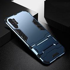 Custodia Silicone e Plastica Opaca Cover con Supporto R02 per Samsung Galaxy Note 10 Plus 5G Blu