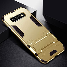 Custodia Silicone e Plastica Opaca Cover con Supporto R02 per Samsung Galaxy S10 Oro