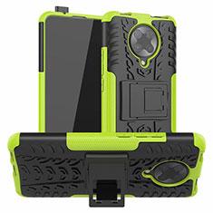 Custodia Silicone e Plastica Opaca Cover con Supporto R02 per Xiaomi Poco F2 Pro Verde