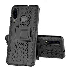 Custodia Silicone e Plastica Opaca Cover con Supporto R03 per Huawei Honor 20 Lite Nero