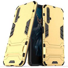 Custodia Silicone e Plastica Opaca Cover con Supporto R03 per Huawei Nova 5T Oro