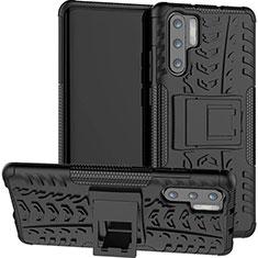 Custodia Silicone e Plastica Opaca Cover con Supporto R03 per Huawei P30 Pro Nero