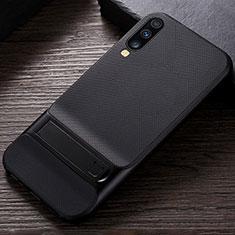 Custodia Silicone e Plastica Opaca Cover con Supporto R03 per Samsung Galaxy A70 Nero