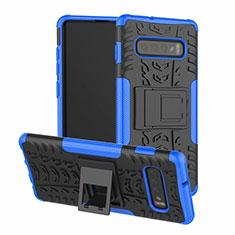 Custodia Silicone e Plastica Opaca Cover con Supporto R03 per Samsung Galaxy S10 Plus Blu