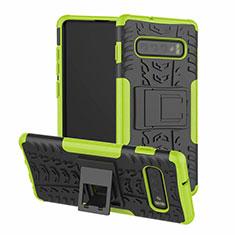 Custodia Silicone e Plastica Opaca Cover con Supporto R03 per Samsung Galaxy S10 Verde