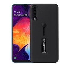 Custodia Silicone e Plastica Opaca Cover con Supporto R04 per Samsung Galaxy A70 Nero