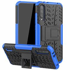 Custodia Silicone e Plastica Opaca Cover con Supporto R04 per Xiaomi Mi A3 Blu