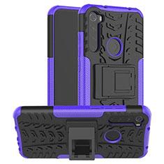 Custodia Silicone e Plastica Opaca Cover con Supporto R06 per Xiaomi Redmi Note 8 Viola