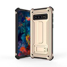Custodia Silicone e Plastica Opaca Cover con Supporto T01 per Samsung Galaxy S10 Oro