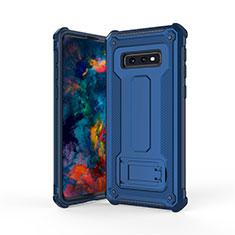Custodia Silicone e Plastica Opaca Cover con Supporto T01 per Samsung Galaxy S10e Blu