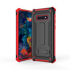 Custodia Silicone e Plastica Opaca Cover con Supporto T01 per Samsung Galaxy S10e Rosso e Nero