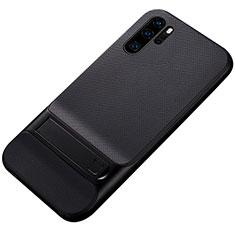 Custodia Silicone e Plastica Opaca Cover con Supporto Z01 per Huawei P30 Pro Nero