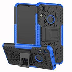 Custodia Silicone e Plastica Opaca Cover con Supporto Z01 per Huawei Y6 (2019) Blu