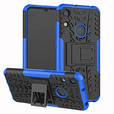 Custodia Silicone e Plastica Opaca Cover con Supporto Z01 per Huawei Y6 Prime (2019) Blu