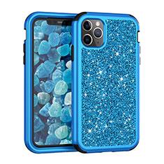 Custodia Silicone e Plastica Opaca Cover Fronte e Retro 360 Gradi Bling-Bling per Apple iPhone 11 Pro Max Blu