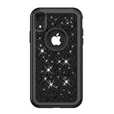 Custodia Silicone e Plastica Opaca Cover Fronte e Retro 360 Gradi Bling-Bling per Apple iPhone XR Nero