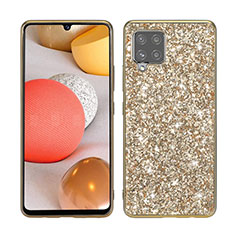 Custodia Silicone e Plastica Opaca Cover Fronte e Retro 360 Gradi Bling-Bling per Samsung Galaxy A42 5G Oro