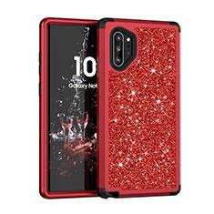Custodia Silicone e Plastica Opaca Cover Fronte e Retro 360 Gradi Bling-Bling per Samsung Galaxy Note 10 Plus Rosso