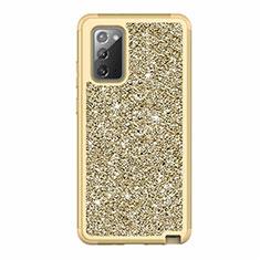 Custodia Silicone e Plastica Opaca Cover Fronte e Retro 360 Gradi Bling-Bling per Samsung Galaxy Note 20 5G Oro
