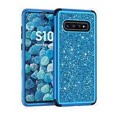 Custodia Silicone e Plastica Opaca Cover Fronte e Retro 360 Gradi Bling-Bling per Samsung Galaxy S10 Blu