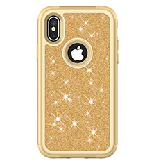 Custodia Silicone e Plastica Opaca Cover Fronte e Retro 360 Gradi Bling-Bling U01 per Apple iPhone X Oro