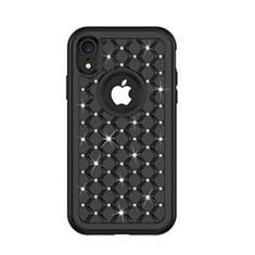 Custodia Silicone e Plastica Opaca Cover Fronte e Retro 360 Gradi Bling-Bling U01 per Apple iPhone XR Nero