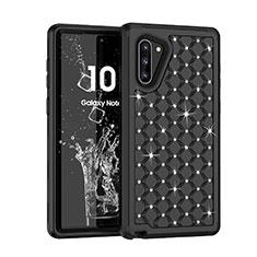 Custodia Silicone e Plastica Opaca Cover Fronte e Retro 360 Gradi Bling-Bling U01 per Samsung Galaxy Note 10 Nero