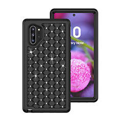 Custodia Silicone e Plastica Opaca Cover Fronte e Retro 360 Gradi Bling-Bling U01 per Samsung Galaxy Note 10 Plus 5G Nero