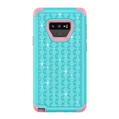 Custodia Silicone e Plastica Opaca Cover Fronte e Retro 360 Gradi Bling-Bling U01 per Samsung Galaxy Note 9 Ciano