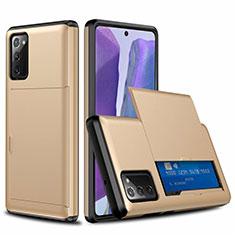 Custodia Silicone e Plastica Opaca Cover Fronte e Retro 360 Gradi N01 per Samsung Galaxy Note 20 5G Oro