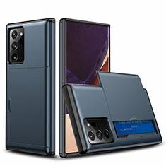 Custodia Silicone e Plastica Opaca Cover Fronte e Retro 360 Gradi N01 per Samsung Galaxy Note 20 Ultra 5G Blu