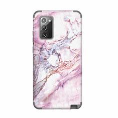 Custodia Silicone e Plastica Opaca Cover Fronte e Retro 360 Gradi N02 per Samsung Galaxy Note 20 5G Grigio