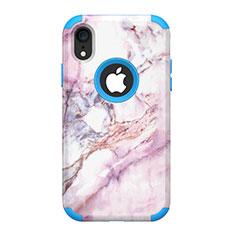Custodia Silicone e Plastica Opaca Cover Fronte e Retro 360 Gradi per Apple iPhone XR Blu