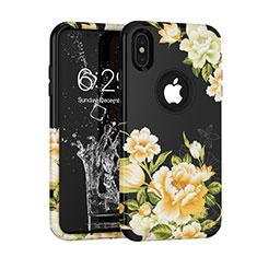 Custodia Silicone e Plastica Opaca Cover Fronte e Retro 360 Gradi per Apple iPhone Xs Max Nero