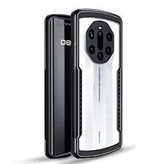 Custodia Silicone e Plastica Opaca Cover Fronte e Retro 360 Gradi per Huawei Mate 40 RS Nero