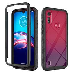 Custodia Silicone e Plastica Opaca Cover Fronte e Retro 360 Gradi per Motorola Moto E6s (2020) Nero