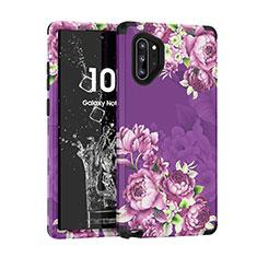 Custodia Silicone e Plastica Opaca Cover Fronte e Retro 360 Gradi per Samsung Galaxy Note 10 Plus 5G Viola