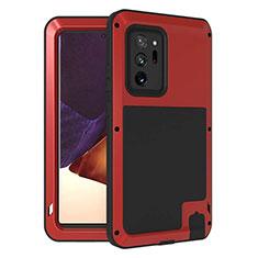 Custodia Silicone e Plastica Opaca Cover Fronte e Retro 360 Gradi per Samsung Galaxy Note 20 Ultra 5G Rosso