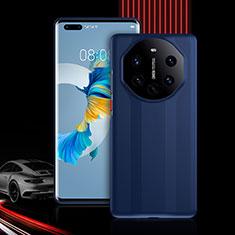 Custodia Silicone e Plastica Opaca Cover Fronte e Retro 360 Gradi R01 per Huawei Mate 40 Pro+ Plus Blu