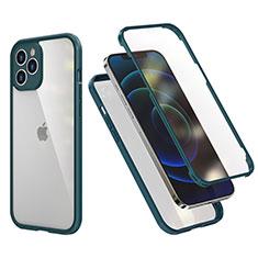 Custodia Silicone e Plastica Opaca Cover Fronte e Retro 360 Gradi R05 per Apple iPhone 12 Pro Max Verde Notte