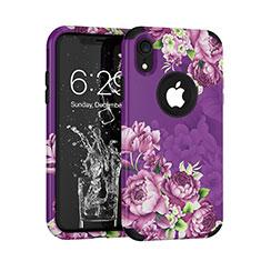 Custodia Silicone e Plastica Opaca Cover Fronte e Retro 360 Gradi U01 per Apple iPhone XR Viola