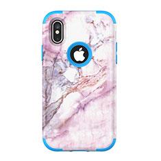 Custodia Silicone e Plastica Opaca Cover Fronte e Retro 360 Gradi U01 per Apple iPhone Xs Max Blu